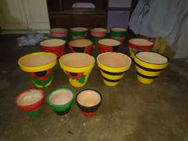 Painted pots of various sizes