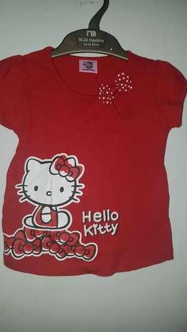 Kaos Hello kitty uk 3 th merah