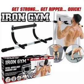 Iron Gym Bar, Pull Up Bar , Push Up Stand - Black And Silver
