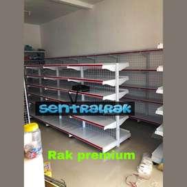 Rak gondola toko baru tengah dan dinding warna putih pricecard plat