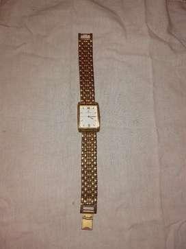 Titan day & week wrist watch golden colour