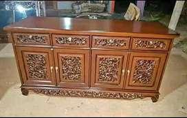 Bufet tv ukir palembang material kayu jati AJF66