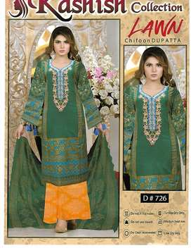unstiched fabric three piece 72/72 lawn only for