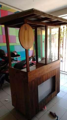 Rombong gerobak booth kayu jati belanda