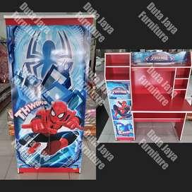 Paket Spiderman Keapanel Meja Belajar dan Lemari Baju