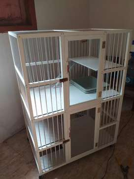 Kandang kucing aluminium putih high quality