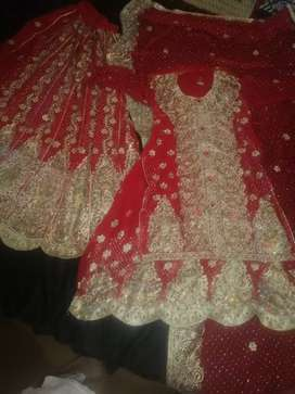 Bridal wedding red/mehroon lehanga for sale urgent