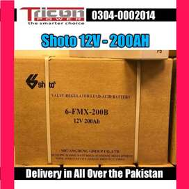 Shoto Dry Battery 12v 200AH Box packed with all documents six months