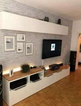 Meja lesehan backdrop tv meja tv rak tv cabinet tv lemari tv rak buku