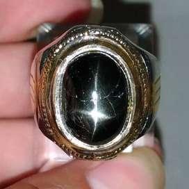 Cincin Batu Akik Nilam Black Star Diopside 4 Ray Asli (Kode 544)
