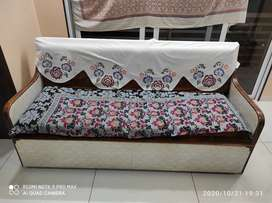 Sofa cum bed made from Saag wood with mattress