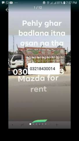 Loader truck with labour container,mazda, shehzore ,pickup for rent