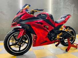 Ninja 250 ABS Fi Modif merah chrome