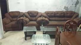 Checkered Brown 5 Seater Sofa Set (Phase 3 Chowk)