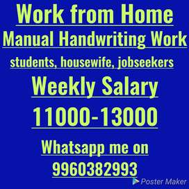Home Based Job, handwriting work
