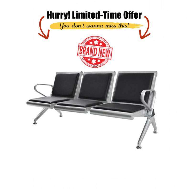 3 Seater Reception Waiting Bench Heavy - Black & Silver 0