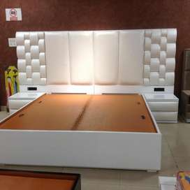 Brand new white colour King size bed with side table & without mattres