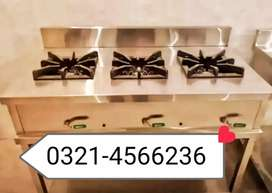Commercial cooking Range 3 burners SS non magnet
