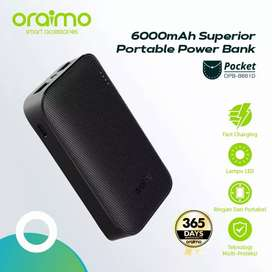 Powerbank Oraimo Dual Port USB Portable LED Light Fast Charging 6600
