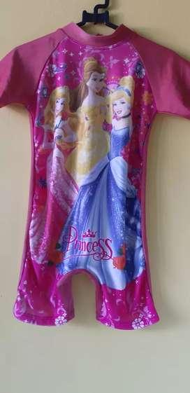 Baju renang anak anak warna pink gambar princess