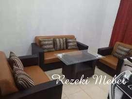 Rezeki Mebel_1set 321 sofa minimalis coklat hitam