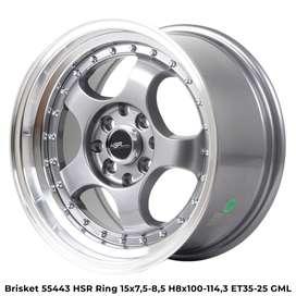 Promo velg murah BRISKET 55443 HSR R15X75/85 H8X100-114,3 ET35/25 GMLg