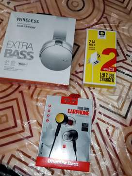 SONY HEADPHONE + HH Mobile Charger (handfree free)