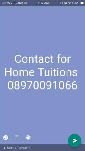 Contact for home tuition upto class 10th, CBSE. ICSE and state Board.