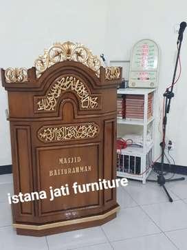 Mimbar masjid mimbar khutbah podium bahan material kayu jati
