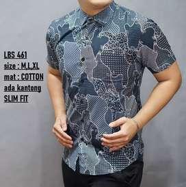 Kemeja batik abu2 motif tambalan LBS 461 abu2