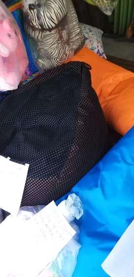 Ready stock bean bag avocado jumbo xl black suede motif