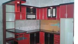 Kitchen set hpl taco merah hitam manis