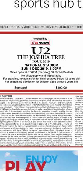 Tiket konser U2 buy 1 get 1 free