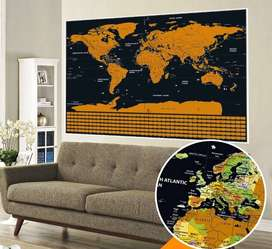 Map Poster Peta Dunia - Deluxe Scratch World Map National Flag