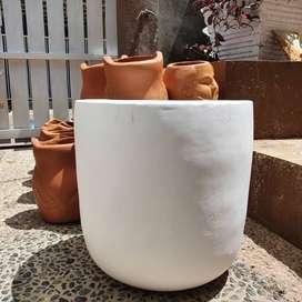 Pot tanaman hias unik garis2 ada putih+abu abu kaki 3