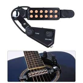Transducer Pickup Gitar Akustik 12 Hole dengan Tone Volume Control