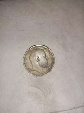 Indian one rupee coin in 1907  king emperor