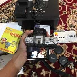 TERMURAH! Fujifilm xt10 lensa meike 35mm f1.7 LENGKAP SEMUA