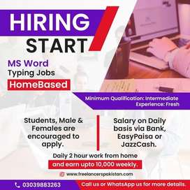 MS Word Typing Jobs Home Based For Male & Female