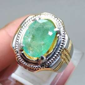 Batu Cincin Zamrud Hijau Emerald Beryl kode B357