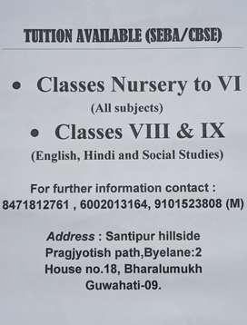 Tuition Classes (CBSE & SEBA)