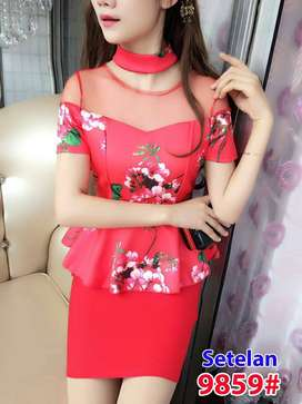 Setelan gaun pesta 9859 merah  fit S dan M