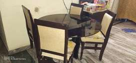 Dining table with glass top 4 chair