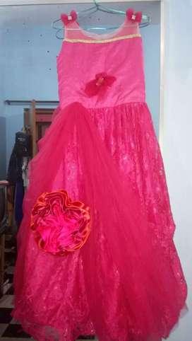 Floor length long pink ball gown