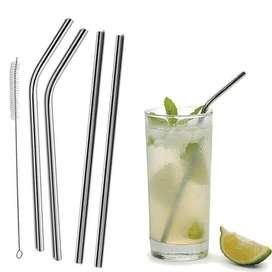Sedotan Stainless Steel Straw Silver isi 8+ 2 pembersih Solo Micro