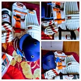 Cricket kit -pad gm ka,thai gm ka , gloves gm ka , helmet ss ka