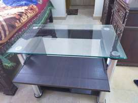 wooden study table with glass top