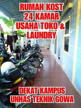Jual Rumah kos, usaha laundry dan toko dekat kampus TEKNIK UNHAS GOWA