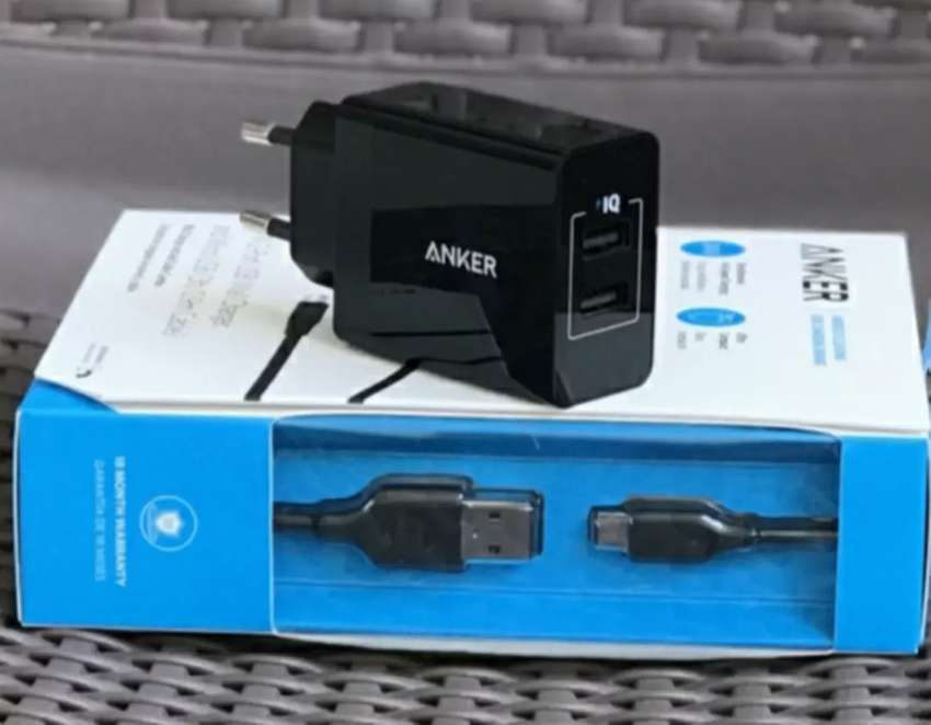 《SEGEL》 ANKER Wall Charger PowerPort 2 Dual Port USB + Kabel Micro 3ft 0