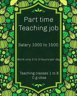 Teacher required for teaching classes 1 to 8 cg cbse  part time